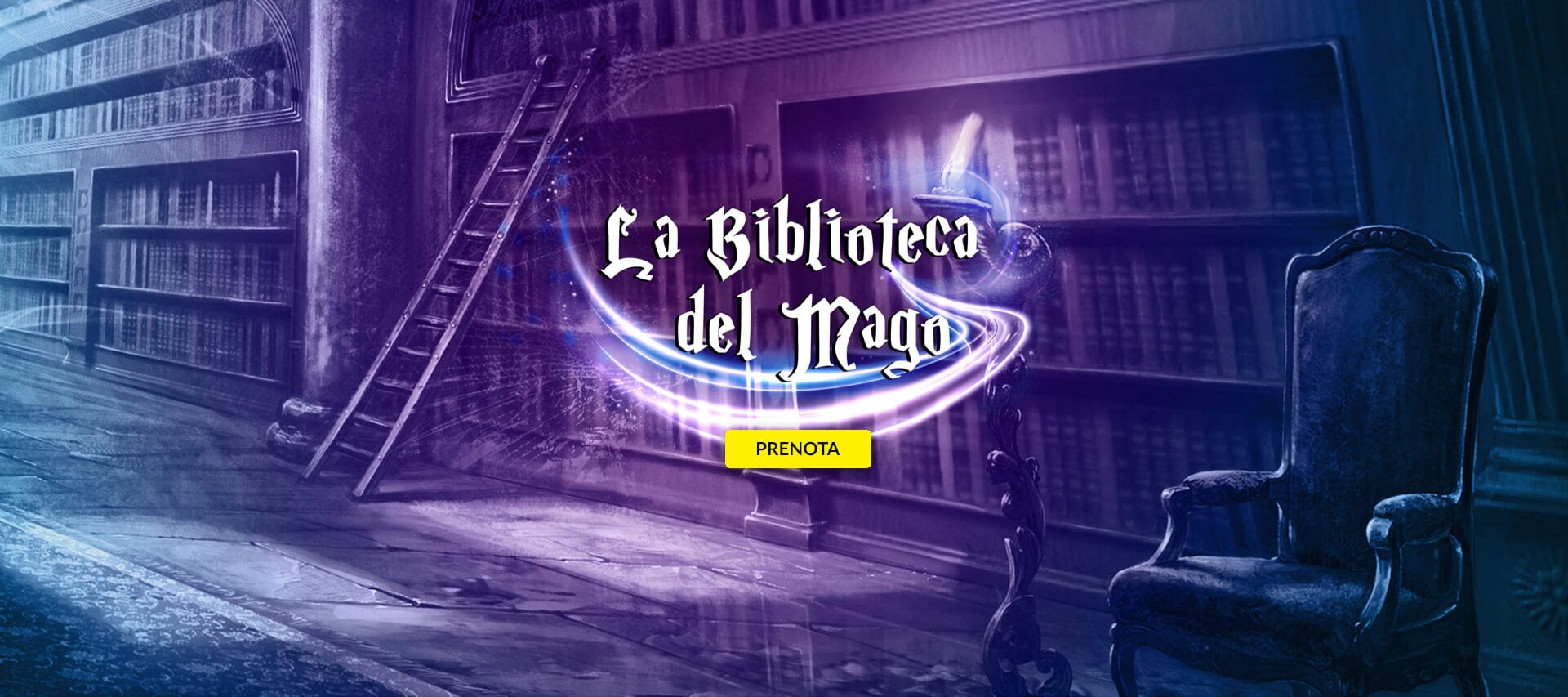 nella slide il logo della Stanza Biblioteca del Mago della Escape Room di Padova iScampa